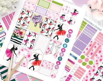 Ballerinas Planner Stickers Printable, Ballet HAPPY PLANNER, Monthly/Weekly Kit,Printable Sampler, Happy planner kit,Instant download