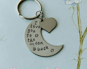 I love you to the moon and back personalised keyring by Violet & Pops