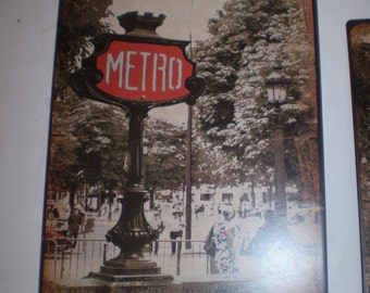 French Paris Metro Metal Wall Hanging Sign,Subway,Underground.Design 2,Home or Garden