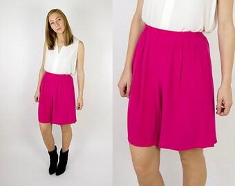 High Waisted Silk Hot Pink Magenta Long Shorts