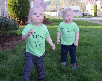 Yes We are twins- We're Identical (front) #IdenticalTwins (back) Cute and Informative shirt! Wear these when going out! infant-kid sizes!