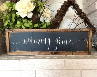 "Framed ""amazing grace"" Sign/Wooden ""amazing grace"" sign/Farmhouse Sign/Farmhouse Style/Scripture Sign/Black & ivory"