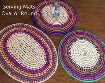 Hand woven Serving Mats / Hot Pads / Placemats