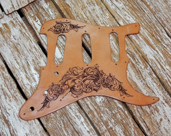 Leather Pick Guard / Leather Stratocaster Pickguard / Engraved Pickguard / Pickguard Stratocaster