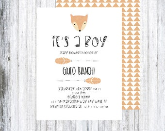 FOX BABY SHOWER invitations, invitations, invitation-printable, printable.