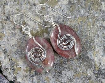 Kashgar garnet and sterling silver earrings