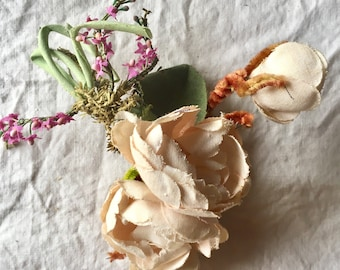 Vintage Ivory and Purple Silk Millinery Flowers with Greenery with Storage Jar