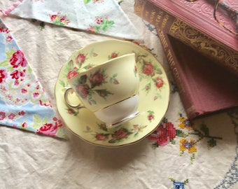 Colclough English Bone China Footed Tea Cup and Saucer - Pale Yellow with Pink Roses and Gold Trim - 1940s