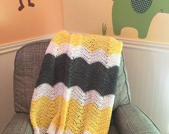 Gray, yellow, and white chevron baby blanket