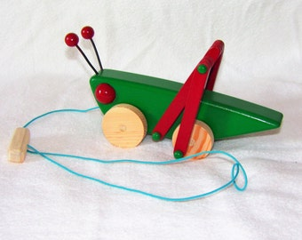 Handmade Wooden Grasshopper Pull Toy, Meadow Green and Colonial Red