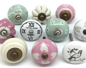 Set of 10 Ceramic Door Knobs Designed By & Exclusive to These Please - Vintage Look Mix FP19