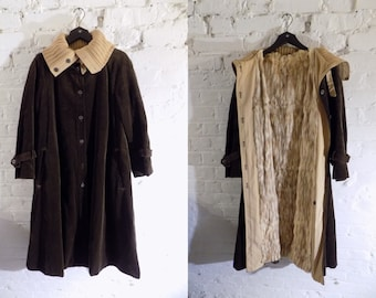 Vintage 1970s Brown Corduroy Trench Coat Jacket with Beige Rabbit Fur Lining and Knit Collar Detail - UK 10 EU 38 US 6