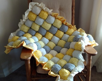 Yellow & Gray Baby Puff Quilt - Ready to Ship