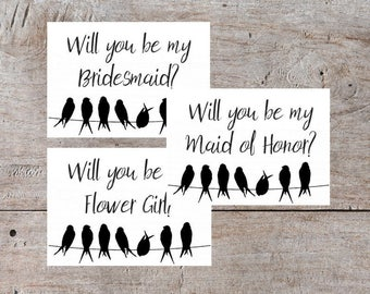 Printable Bridesmaid Cards, Digital Download, Will You Be My Bridesmaid, Printable Maid of Honor, Be My Maid of Honor Card