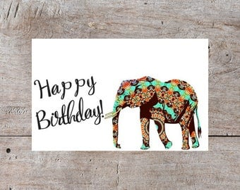Happy Birthday Card, Elephant Birthday Card, Elegant Birthday Card, Cute Birthday Card, Fancy Birthday Card, Elephant Card