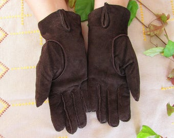 Vintage Brown Genuine Leather Gloves, Women Brown Suede Gloves Size 7 1/2, Driving Gloves, Patent Brown Leather Gloves for Women