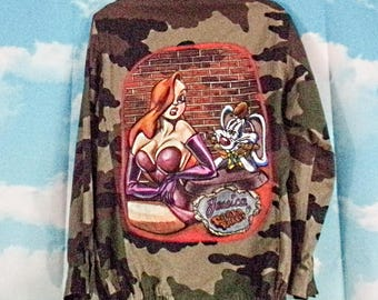 Khaki Military Jacket K4U-Creations Pattern Jessica Rabbit Hand Painted
