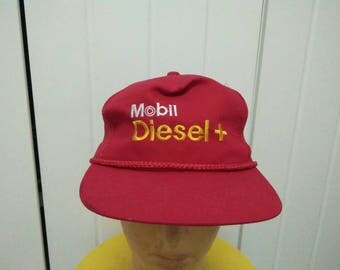 Rare Vintage MOBIL DIESEL + Embroidered Cap Hat Free size fit all