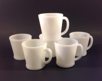 Vintage Milk Glass Coffee Cups Mugs Set of 6 Anchor Hocking & Unbranded D Handle