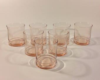 Vintage Pink Juice Glasses Libbey Glass Set of 7 Mint Condition
