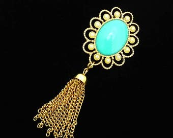 Vintage SIGNED 1973 Sarah Coventry MAGIC MOODS Faux Pearl Turquoise Tassel Brooch, Vintage Brooch, Sarah Coventry Pin, Gold Turquoise Brooch