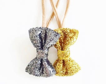 Silver or gold glitter baby bow headband