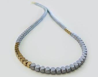 Hematite Cube necklace, Gray matt necklace, Gold gray necklace, Gold Cube necklace, Cube necklace, Concrete look, Matt hematite necklace