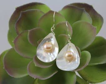 "DOUBLE PEARL EARRINGS, 2 1/2"" Drop, Lightweight, Mother of Pearl Shells with Peach Pearl Nestled in Like Finding an Oyster with a Pearl!!!"