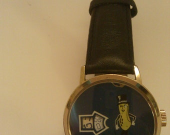 Vintage Planters Mr Peanut Jump Hour Swiss made Watch- Manual~ runs goods RARE
