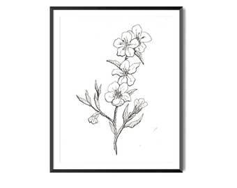 Peach Blossom Print, Flower Art, Botanical Illustration, Wall Art, Blossom Floral Art, Botanical Print, Peach Flower Print, Flora Print