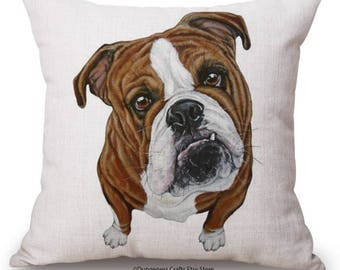 """Brown Bulldog Cushion Cover with Cushion Insert Included- 18"""" by 18"""" -"""