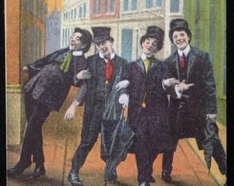 Lot of 3 Antique Vintage Postcards Used Postmarked Holmfirth Bamforth Series 1092 8018 7039 Illustration Humor Comic