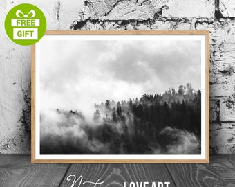 Forest Photography, Trees Photo, Landscape Print, Black and White Landscape, Nature Landscape, Forest Print, Fog Print, Fog Forest