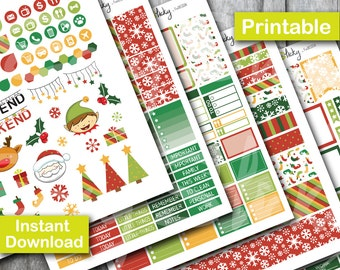 Christmas Planner Kit, Printable Planner, Printable Sticker, Erin Condren Planner Sticker
