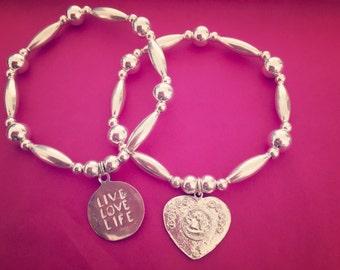 Sterling Silver Chunky Charm Bracelets