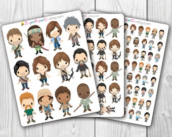 TWD Stickers, Zombie Apocalypse, Walking Dead, Kawaii, Cute Stickers, Planner Stickers, Pretty,  Erin Condren, ECLP