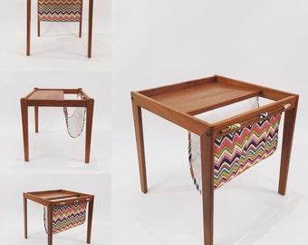 Mid-Century Danish teak Side Table With Magazine Space.