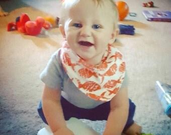 Orange Fishy bandana bib