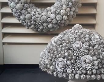 Large unique wreath in white-wash decoration
