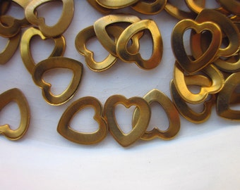 72 Vintage Brass Stampings, Heart Shaped with Open Center, 9mm x 8mm