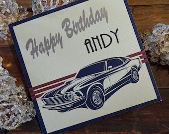 Personalised Birthday Card - Vintage Car Design P16-77