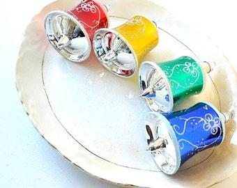 RESERVED FOR DONA!  handmade glass bell ornaments white glitter red green blue gold bell ornaments christmas tree decor