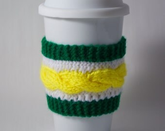 Cup Sleeve - Green, Gold & White
