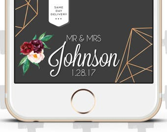 Custom Snapchat Filter for Weddings and Events. Berry Color Flowers and Geometric shapes!