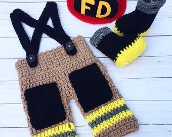 Crochet Newborn Firefighter Set, Baby Firefighter Outfit, Fireman Photoprop, Crochet Fireman Helmet, Boots and Pants, Fireman Costume