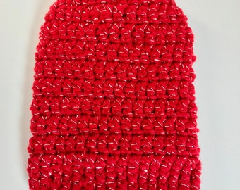 Holiday Sparkle = Cast Sock= Christmas Red = Ready to ship.