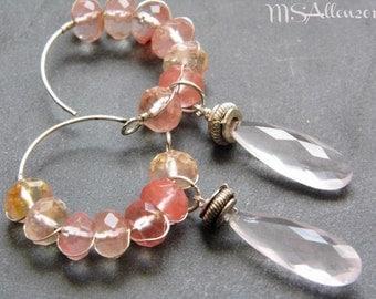Pink Hoop Earrings - Gemstone Dangle Tourmaline Quartz Boho Chic Bridesmaid Wedding Wirework Wirewrap