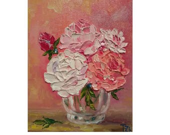 Pink, Coral and White Roses in a Glass Bowl Original oil impasto painting size 8 in X 10 in No.04-44 ready to hang