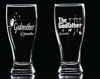 Custom Etched Godparents Beer Glass Set, Godparents Pilsner Glass, Godmother Beer Glass, Godfather Beer Glass, Godfather Pilsner Beer Cup