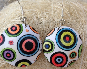 Earrings multicolor polymer clay